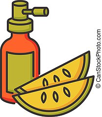Kalahari melon seed oil RGB color icon. Dermatology product ...