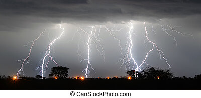 lighting strikes during a thunder storm in the kalahari