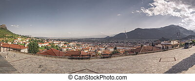 Kalambaka city, Meteora in Greece - Panoramic top view of ...