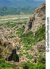Kalambaka small town view from Meteora rocks, Greece - ...