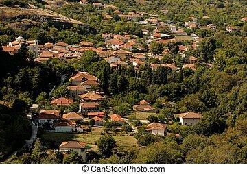 Kalambaka village at the foot of the rocks Meteora, Greece. ...
