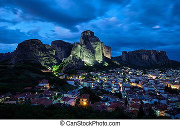 Kalambaka village in famous tourist destination Meteora in ...