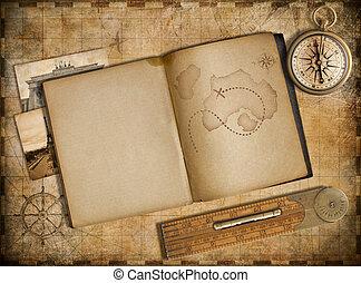 kaland, és, utazás, concept., szüret, térkép, copybook, és,...