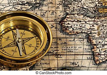 kaland, halk élet, noha, retro, haditengerészet, iránytű, és, térkép