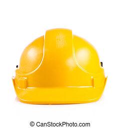 kalap, biztonság, elszigetelt, fehér, sárga, sisak, nehéz, háttér.