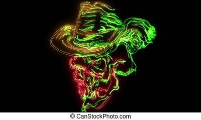 kalap, cowboy, fárasztó, elegáns, barna, puha kalap, koponya...