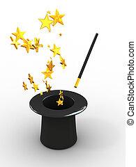 kalap, csillaggal díszít