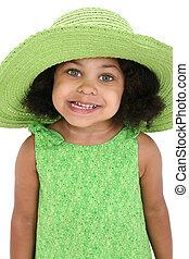 kalap, leány, zöld, gyermek