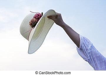 kalap, nő, tengerpart, kéz