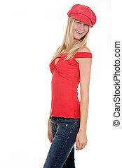 kalap, piros