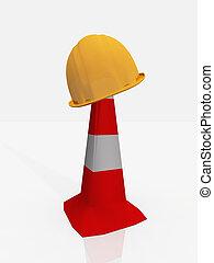 kalap, szerkesztés, nehéz, tölcsér