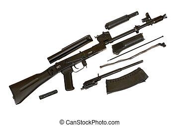 Kalashnikov AK-105 machine gun isolated on the white background