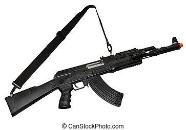 Kalashnikov AK-47 machine gun isolated on white. Clipping path included