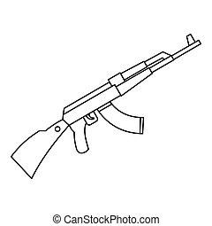 Kalashnikov AK 47 machine icon, outline style - icon....