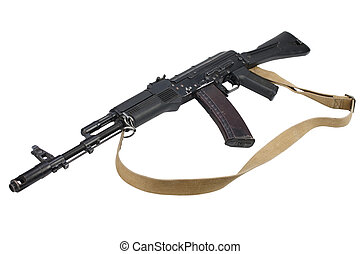 kalashnikov AK assault rifle on white