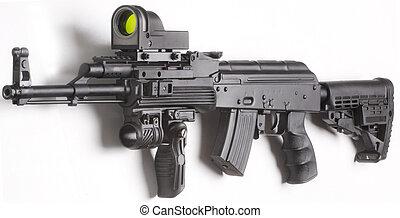 kalashnikov, arma de fuego, aislado, arriba, máquina, plano ...