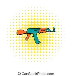 Kalashnikov assault rifle icon, comics style