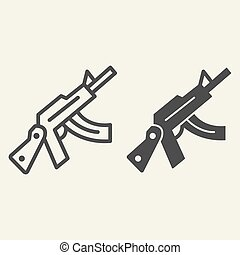 Kalashnikov assault rifle line and glyph icon. Automatic gun vector illustration isolated on white. Weapon outline style design, designed for web and app. Eps 10.