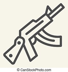 Kalashnikov assault rifle line icon. Automatic gun vector illustration isolated on white. Weapon outline style design, designed for web and app. Eps 10.