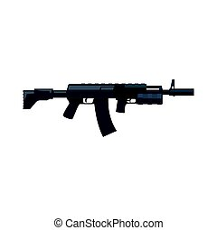 Kalashnikov assault rifle. Military weapon vector...