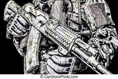 Kalashnikov assault rifle on white background