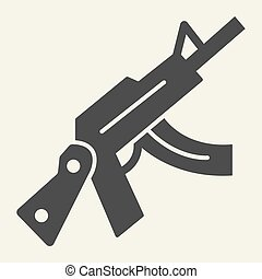 Kalashnikov assault rifle solid icon. Automatic gun vector illustration isolated on white. Weapon glyph style design, designed for web and app. Eps 10.