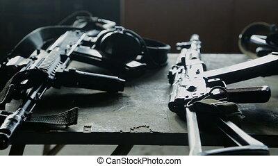 Weapons and gun. Terrorism concept. - Kalashnikov automatic...