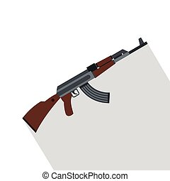 Kalashnikov gun icon, flat style - Kalashnikov gun icon....