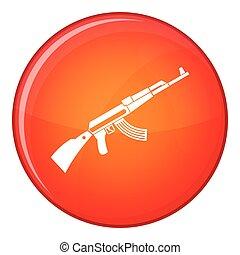 Kalashnikov machine icon, flat style