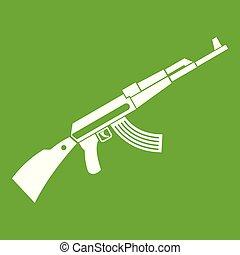 Kalashnikov machine icon green - Kalashnikov machine icon...