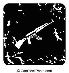 Kalashnikov machine icon, grunge style - Kalashnikov machine...