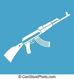 Kalashnikov machine icon white isolated on blue background...