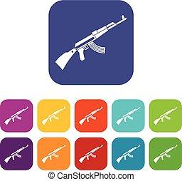 Kalashnikov machine icons set vector illustration in flat...