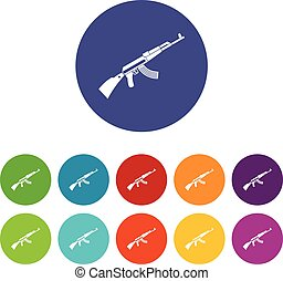Kalashnikov machine set icons in different colors isolated...