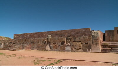 Kalassaya Wall And Gate, Tiwanaku, Bolivia - Medium close-up...
