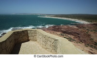 Kalbarri NP Coral Coast aerial view - Aerial view of the Red...