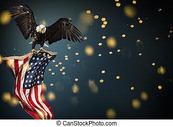 kale adelaar, vliegen, met, amerikaanse vlag