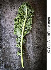 Kale Leaf on Slate Overhead View - Kale leaf, overhead view ...