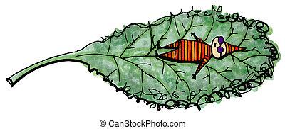 Whimsical illustration of child suntanning on a kale leaf