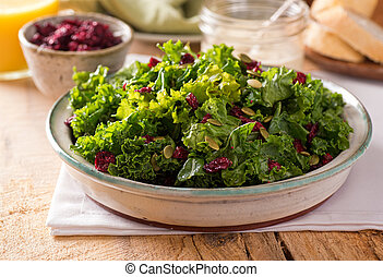 Kale Salad - A delicious kale salad with dried cranberry and...