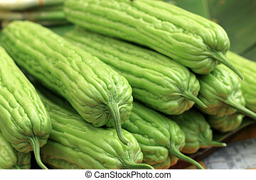 kalebassen, market., groentes, fris