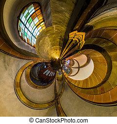 kaleidoscope, aanzicht, van, gotische kerk, interieur, weinig; niet zo(veel), planeet, effect, van, panoramisch, schot., andlau, france.
