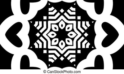 kaleidoscope tunnel design with black & white graphics, typography ellements motion graphics, seamless loop