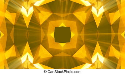 Kaleidoscope gold jewelry pattern background. 3d rendering
