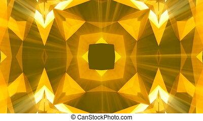 Kaleidoscope gold jewelry pattern background. 3d rendering