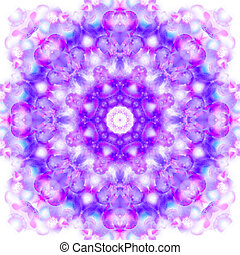 Kaleidoscope in lilac colors on a white background.