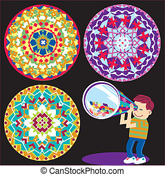 Kaleidoscope Kid - A boy looking through a kaleidoscope and...