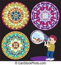 Kaleidoscope Kid - A boy looking through a kaleidoscope and ...