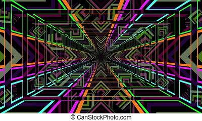 Kaleidoscope stars seen through neon tunnel