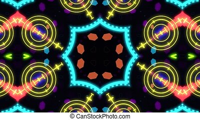 Kaleidoscope with luminous lines. 4K abstract background.